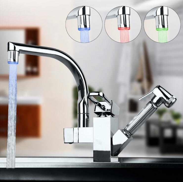 Kitchen faucet mixer tap hot and cold,Rotated kitchen sink basin faucet pull down LED, Copper stretched dish basin faucet chrome