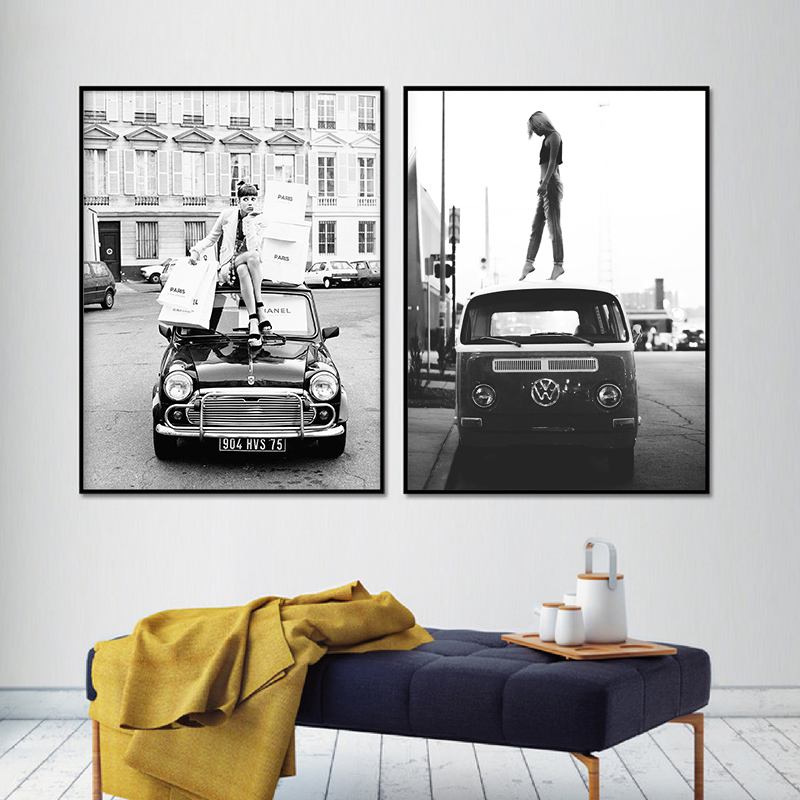 Fashion Girl Black White Photo Posters Print Vintage Street Photography Art Painting Retro Car Vogue Pictures Home Decor