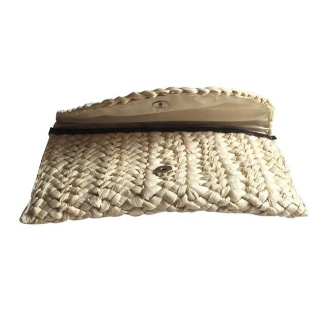 Straw Knitted Women Clutch Elegant Female Braided Handbag Envelope Hasp Beach Bag For Ladies