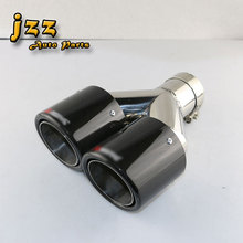 1pcs akrapovic car tailpipes double Slant And Rolled Stainless Steel car silencer exhaust Pipe Muffler Tail tips