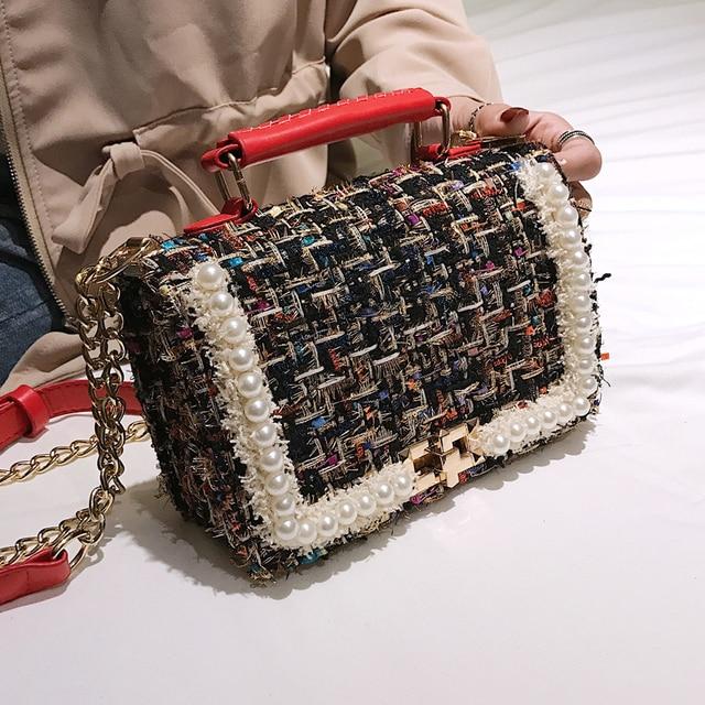 2019 Winter Fashion New Female Square Tote bag Quality Woolen Pearl Women's Designer Handbag Ladies Chain Shoulder Crossbody Bag 3