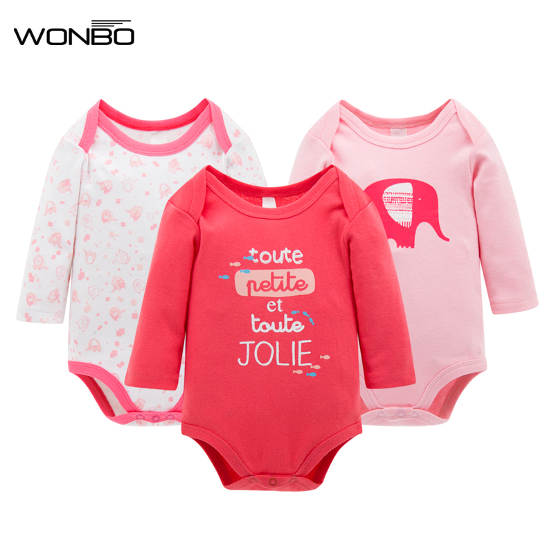 3pcs/Set Thick Cotton Baby Rompers Winter Long Sleeve Baby Girl Infant Jumpsuit Newborn Baby Girls Clothes Infantil 100%cotton 3pcs lot baby rompers winter long sleeve baby boys clothing solid color o neck jumpsuit baby girls pajamas clothes