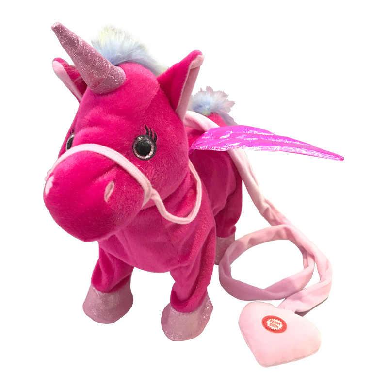 35 cm Adorável Curta Elétrica Unicorn Toy Plush Macio Stuffed Animal Boneca Unicórnio Eletrônico Cantar a Canção para o Aniversário Do Bebê presentes