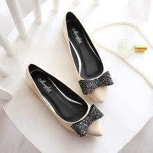Patent Leather Flat Shoes Fashion 2016 New Women's Single Shoes Diamond Bowtie Plus Size 40-45 Small 33 Ladies Shoes
