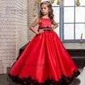 Красный Черный Кружева Первое Причастие Платья для Девочек Выпускные Платья Дети Девушки Дети Вечерние Платья Халат Petite Fille d'honneur