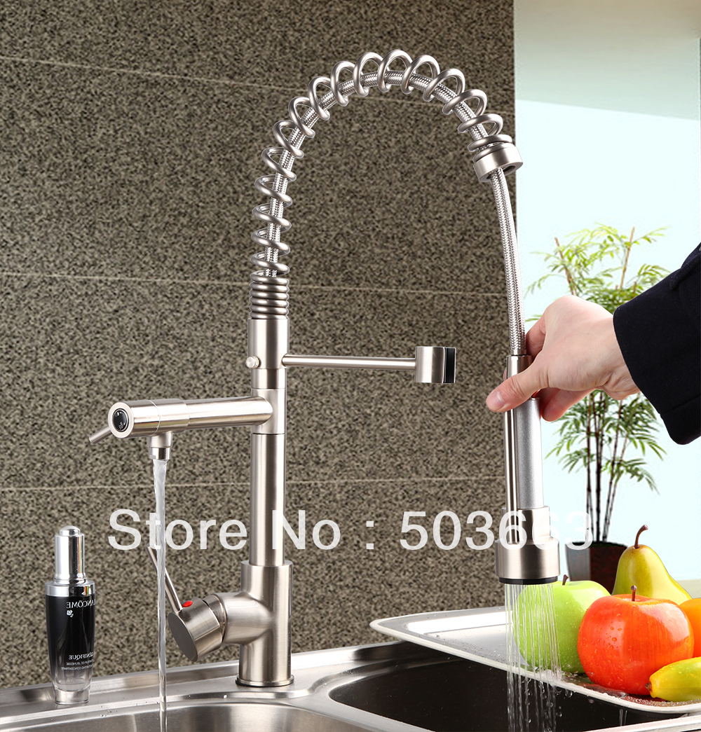 Promotion New Brass Water Kitchen Faucet Swivel Spout Pull Out Vessel Sink Single Handle Deck Mounted Mixer Tap MF-287 Faucet 360 hot double handles free brass water kitchen faucet swivel spout pull out vessel sink ceramic mixer tap mf 284 faucet