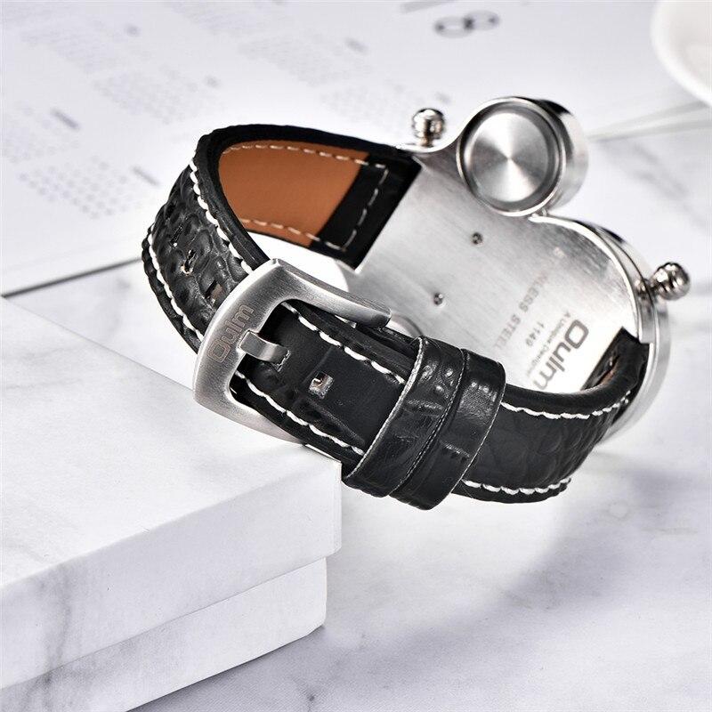 Image 5 - Мужские часы Oulm, спортивные, кварцевые, с кожаным ремешком, декоративные, с компасом, термометромКварцевые часы   -