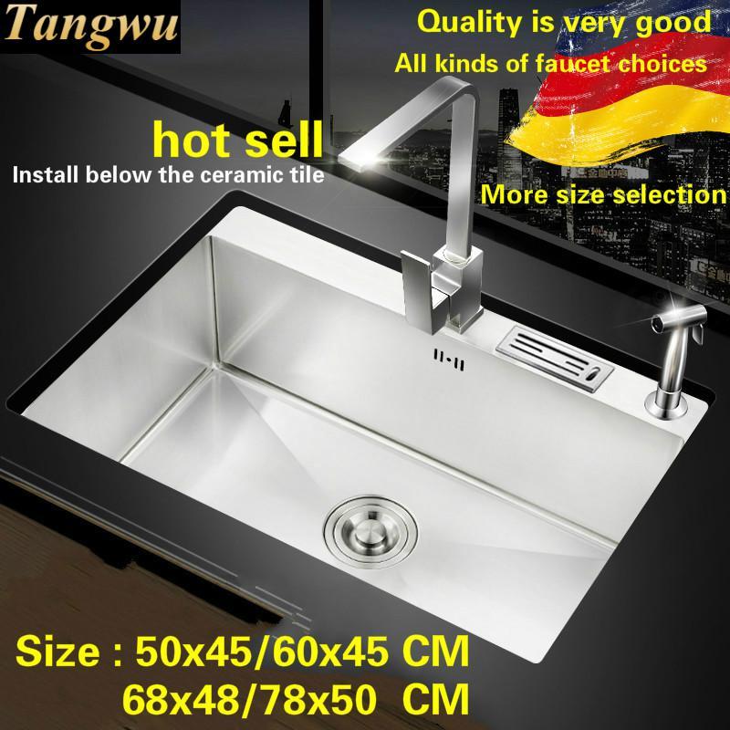 Frete grátis Padrão manual de cozinha pia único cocho 304 food grade de aço inoxidável mini hot vender 50x45/ 60x45/68x48/78x50 CM