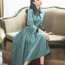 Новые модные женские платья, осенние ретро платья с длинным рукавом, тонкое, высокая талия, плиссированное длинное платье с подолом