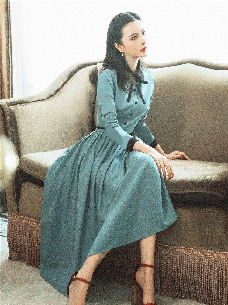 a6eefa4b638e2f À 2018 Longues Bleu Ourlet Robes Mode Robe Taille Plissé Manches Femmes  Nouvelle Automne Haute Longue ...