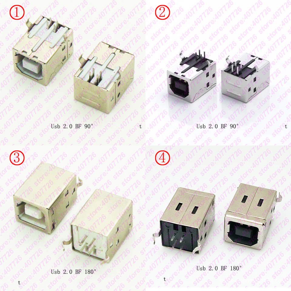 100Pcs b type usb jack connector printer port Female Socket Right Angle PCB Connector DB90 KeoKasu