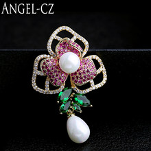 ANGELCZ Brand Luxury Gold Colore Del Fiore Spilla Pin Rose Red verde di Cristallo DELLA CZ Grandi Spille Da Sposa Gioielli di Perle Per Le Donne BP010(China)