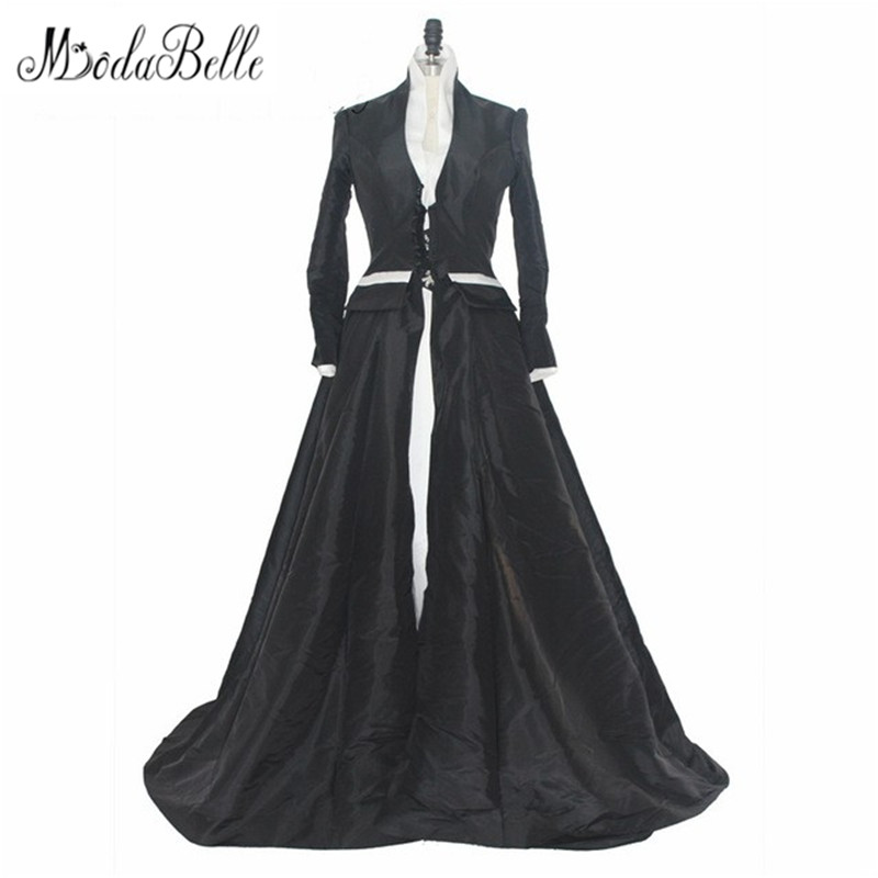 Medieval Black And White Gothic Wedding Ball Gown: Medieval 2017 Vintage Long Sleeve Lace Black White Wedding