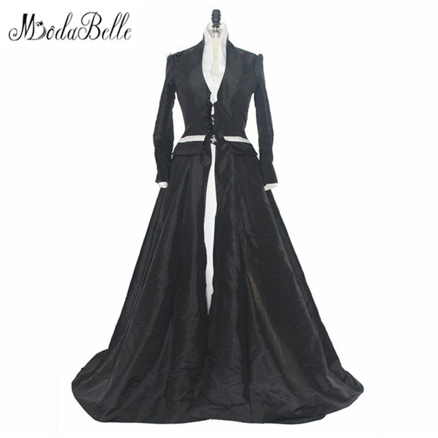 cae3e5e2c60 Medieval 2017 Vintage Long Sleeve Lace Black White Wedding Dress Real Photo  Satin Gothic Unique Bridal Gown Robe Blanche Mariage