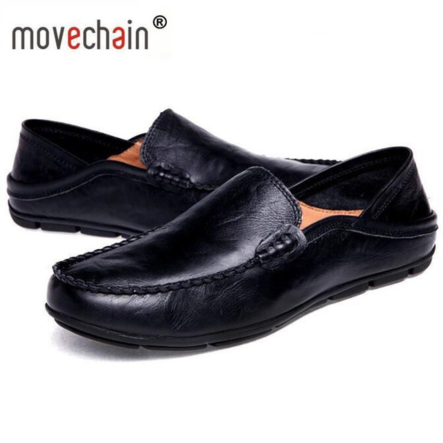 e601b6729d24b1 Movechain Fashion Man Genuine Leather Consiglio Loafers Mens Casual Shoes  Comfortable Slip-on Moccasins Men Vintage Shoe