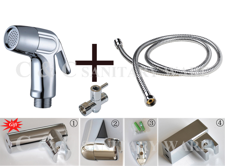 G1/2, G7/8, G3/4, M18X1.5L Optional Brass T-adapter Single Handle ABS Chrome Shattaf Portable Bidet With Gift A201ST биде maide shattaf g7 8 t 3018