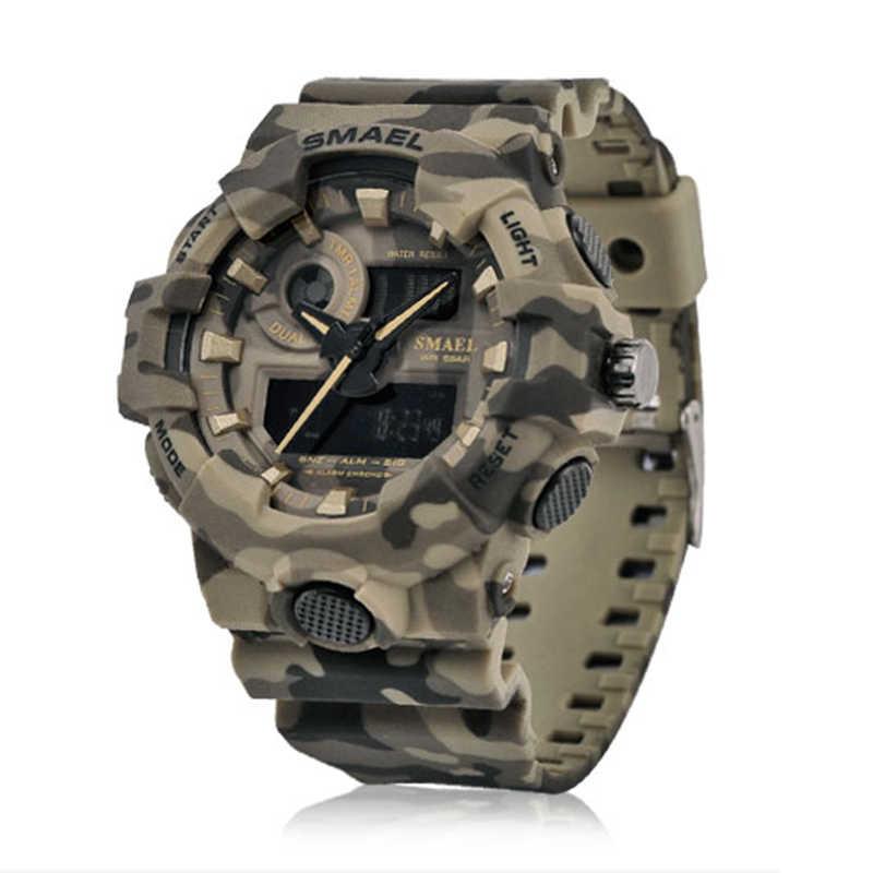 reloj hombre 2018 smael relojes deportivos militar Nuevo camuflaje militar reloj SMAEL reloj hombres deportes LED reloj de cuarzo hombres deporte reloj 8001 Mens ejército reloj impermeable reloj de los hombres