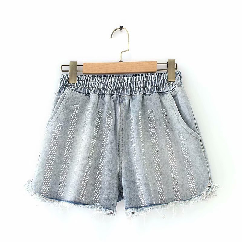 Diamonds Jeans Shorts Women New Summer Style Tassel Casual Loose Plus Size Denim Shorts Black Blue Kkfy3608