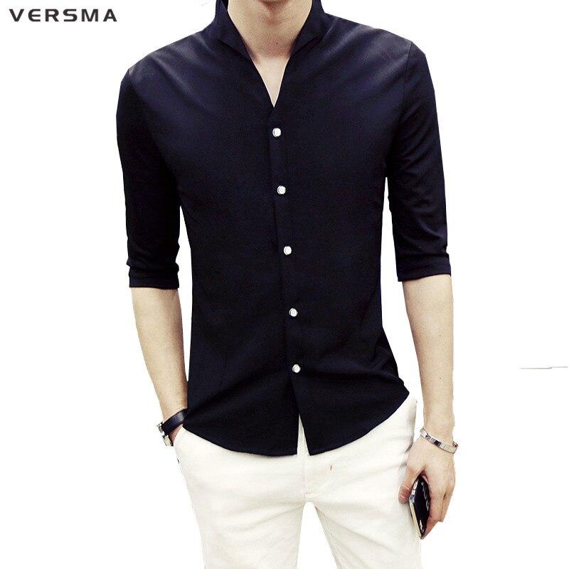 VERSMA 2017 Half Sleeve Men Solid Color Stand Collar Shirt Men ...