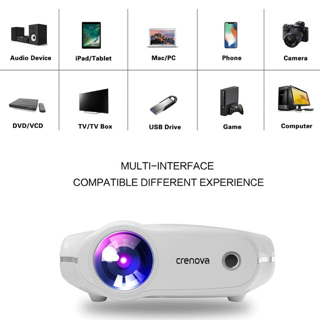 CRENOVA 2018 New LED Projector For Full HD 4K*2K Video Projector With VGA HDMI USB AV SD Home Theater Movie Beamer Proyector 4