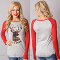 Christmas Deer Printed Women T Shirts Fashion Slim Casual Undershirt Pullovers Femme Spring Fall Patchwork Top Tees Red Grey