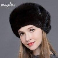 Magelier Echt Bont Hoeden voor Vrouwen Winter Warm Luxe Natuurlijke Nertsen Bont Caps Wit Modemerk Mutsen Nieuwe Collectie MZ015