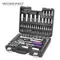 WORKPRO 108 PC herramienta para reparación del coche herramientas mecánico herramienta tomas conjunto juego de trinquete llaves llave