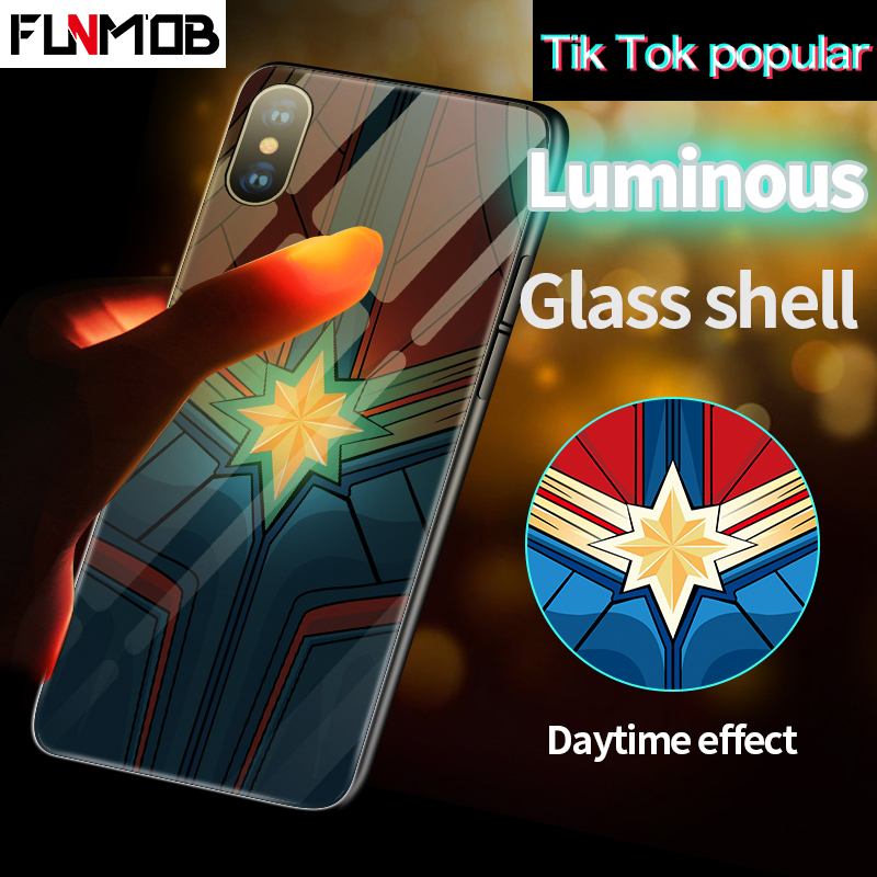 Luxury Luminous Tempered Glass Phone Case Captain Marvel Avengers Batman Iron Man Back Cover For iPhone 6 6s 7 8 Plus XR XS Max marvel glass iphone case