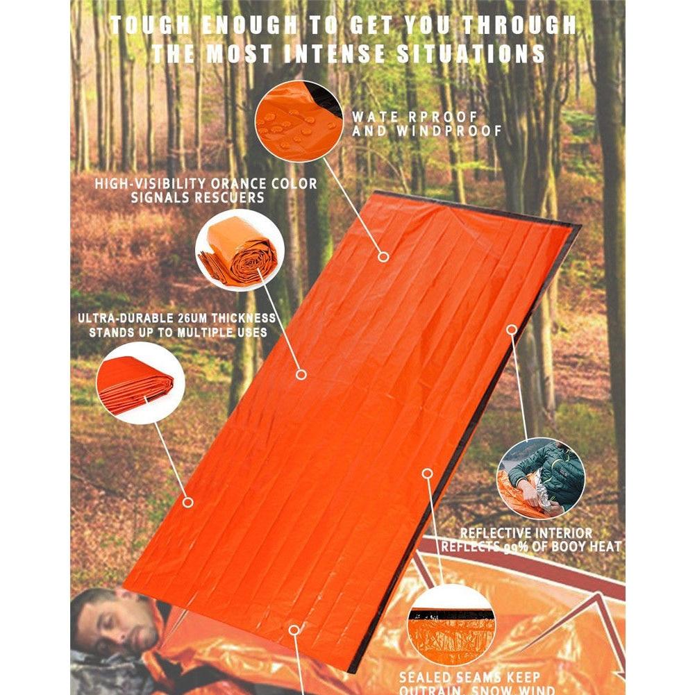 Многоразовый аварийный спальный мешок тепловой Водонепроницаемый выживания кемпинг дорожная сумка S