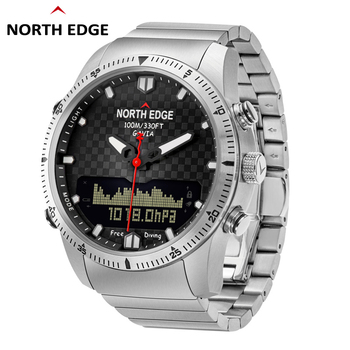 Men Dive Sports Digital watch Mens Watches Military Army Luxury Full Steel Business Waterproof 100m Altimeter Compass NORTH EDGE 1