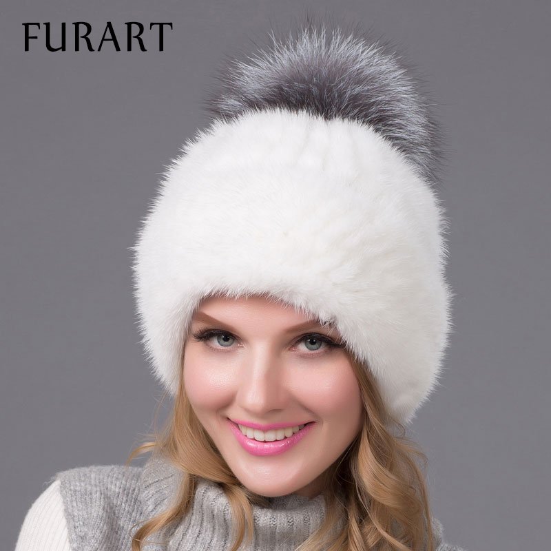 New Mink fur Knitted Hats with fox fur ball High Quality Earflap Hat Women Winter Warm Solid Caps Casual Trendy Headwear BZ-10