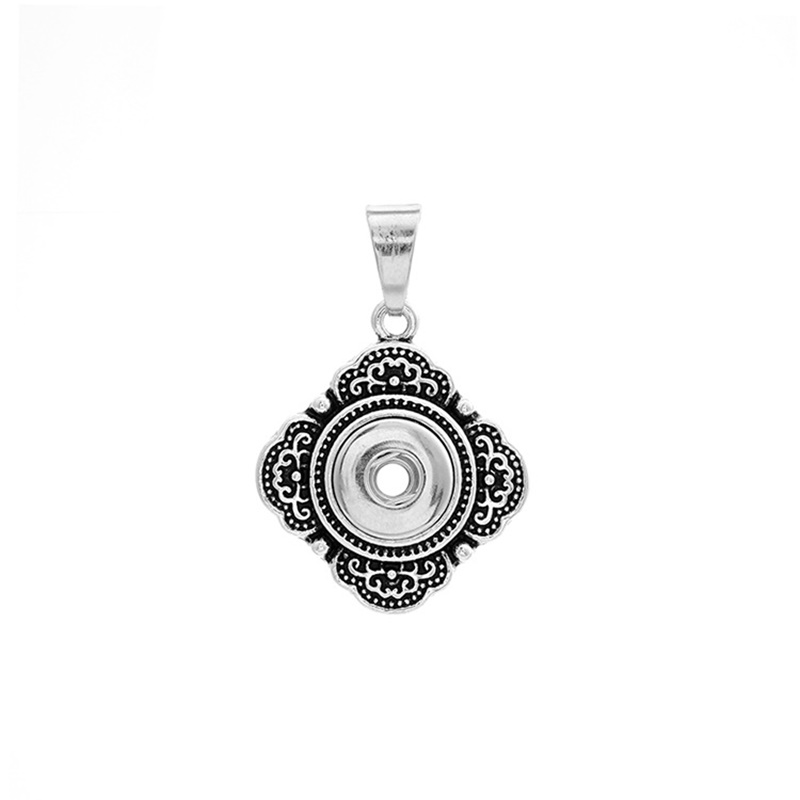 Vintage 12mm snaps button pendant necklace Jewelry for women DIY square button chokers 50cm stainless steel chain NPN040 image