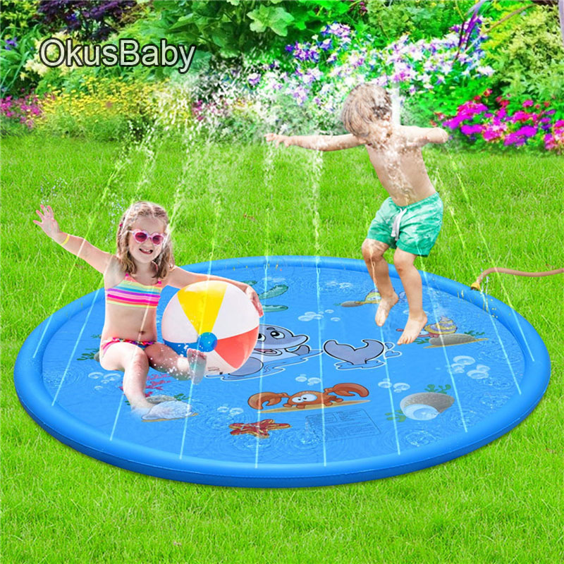 170cm Summer Marine Inflatable Children's Outdoor Play Water Game Beach Mat Spray Water Lawn Sprinkler Cushion Toys Fun For Baby