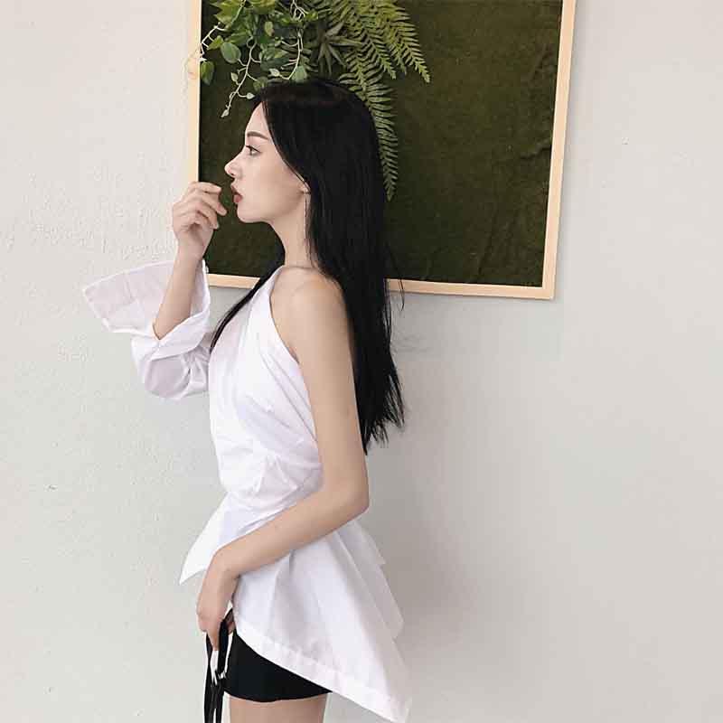 zoux Nouveau Femmes Hem Asymétrique Z Irrégulière Printemps Blanc À Coton Col Manches White Chemise Tops Skew Longues Top Blouse dfT7Tq