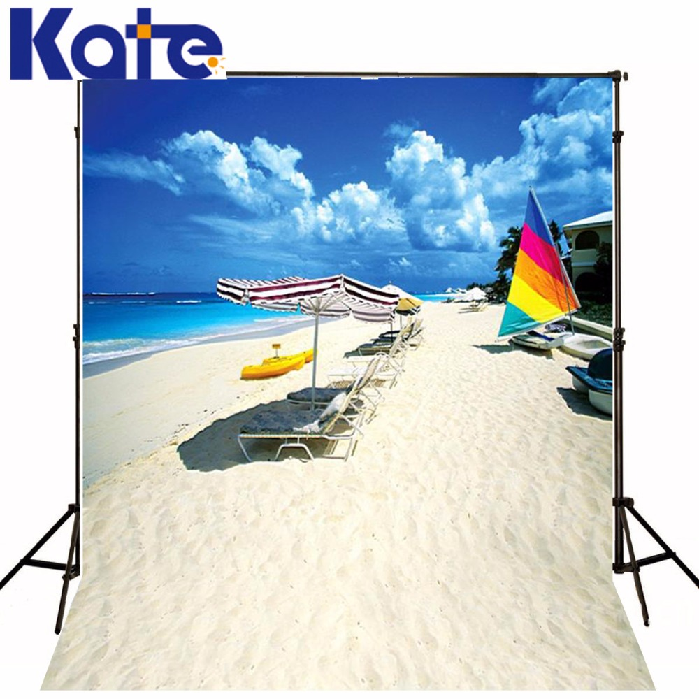 Kate Seaside Photo Background Beach Chairs Umbrellas Photography Backdrops Custom Washable Photography Backdrop 3249 LK 600cm 300cm background large courtyard in front of people photography backdropsvinyl photography backdrop 3383 lk