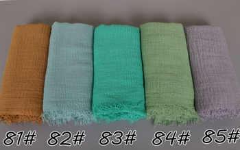 100pcs/lot Big size bubble viscose cotton plain popular shawls hijab autumn wrinkle wrap muslim 85 color scarves/scarf 180*100cm