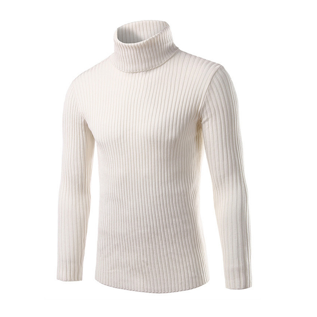 2017 Winter Mens White Sweaters And Pullovers Men Turtle Neck Brand