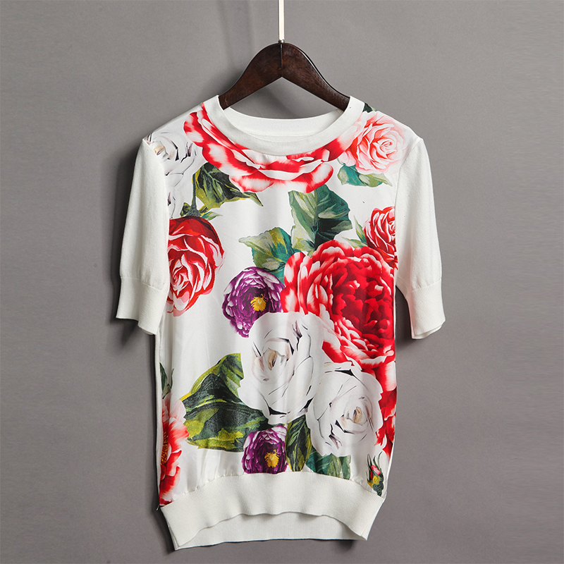 2018 New European Print Flowers Women Sweater High Quality Spring Summer Short Sleeve O_ ...