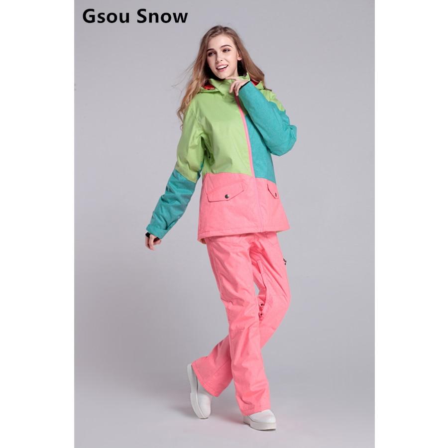 Cool Gsou snow womens ski suit women's snowboard suit winter jacket snow pants tablas de snowboard veste ski clothing women burton gmp eco strapped snowboard jacket gator green mens