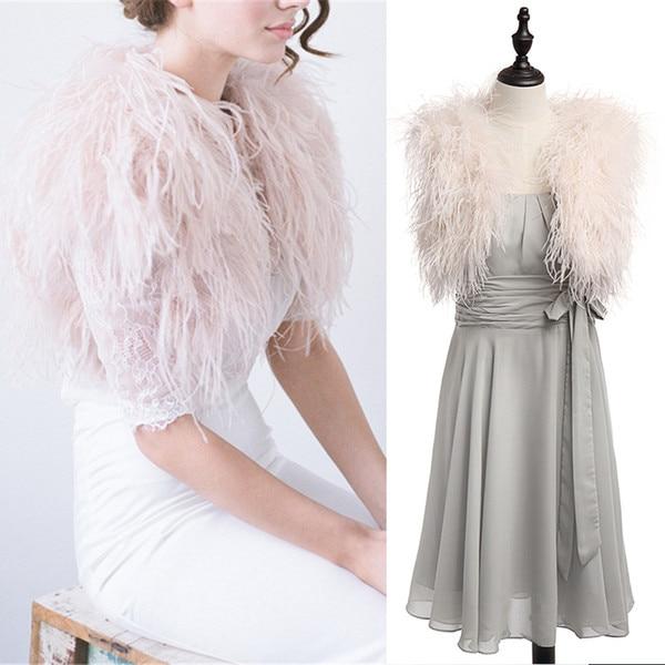 2018 Fur Ostrich Feather Wedding Boleros Bridal Jacket