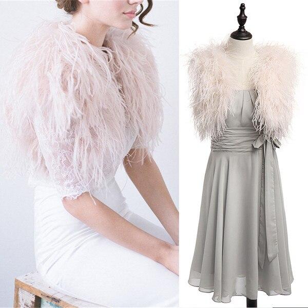 2018 fourrure autruche plume mariage Boleros veste de mariée enveloppes de luxe châle haussement d'épaules Capes pour robe de mariée ou robe formelle Vintage