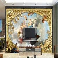 Beibehang Özel Duvar Kağıdı Süper Kişilik Kraliyet Klasik Avrupa Saray Yağlıboya 3D duvar kağıdı TV Arka Plan Duvar Kağıdı