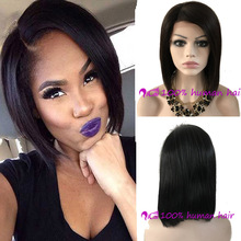8A Glueless Full Lace Human Hair Bob Wigs For Black Women Brazilian Virgin Hair Straight Short Bob Lace Front Bob Cut Wigs