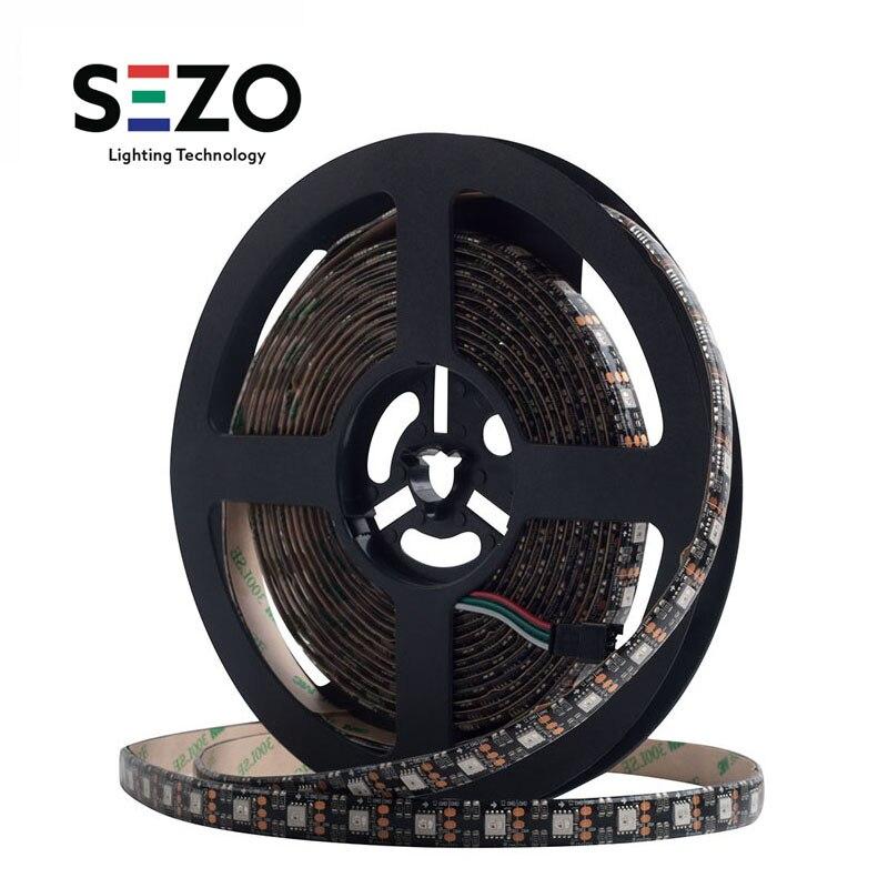 12 V WS2812B 5 m 60leds/m SK6812 RVB Intelligente Led Pixel WS2812 SK6812 IC CARTE PCB Noire De Bande Adressable Individuellement Led Lumières 30 W/m