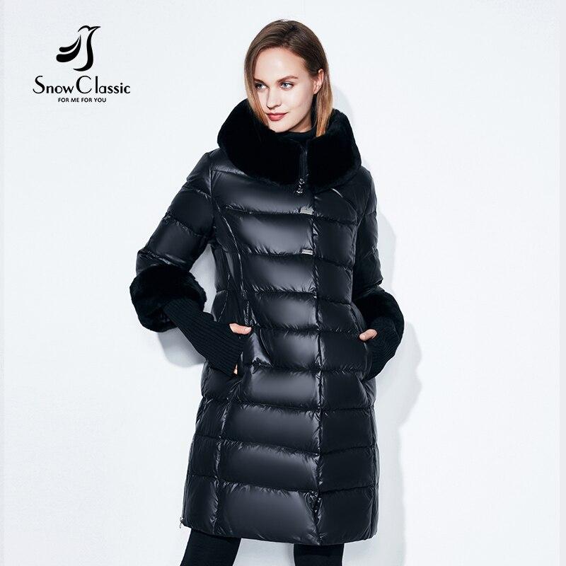 Snowclassic 2018 зимняя шляпа настоящие волосы воротник хлопок куртка пуховик мода теплая куртка XL манжеты съемный европейский стиль моды