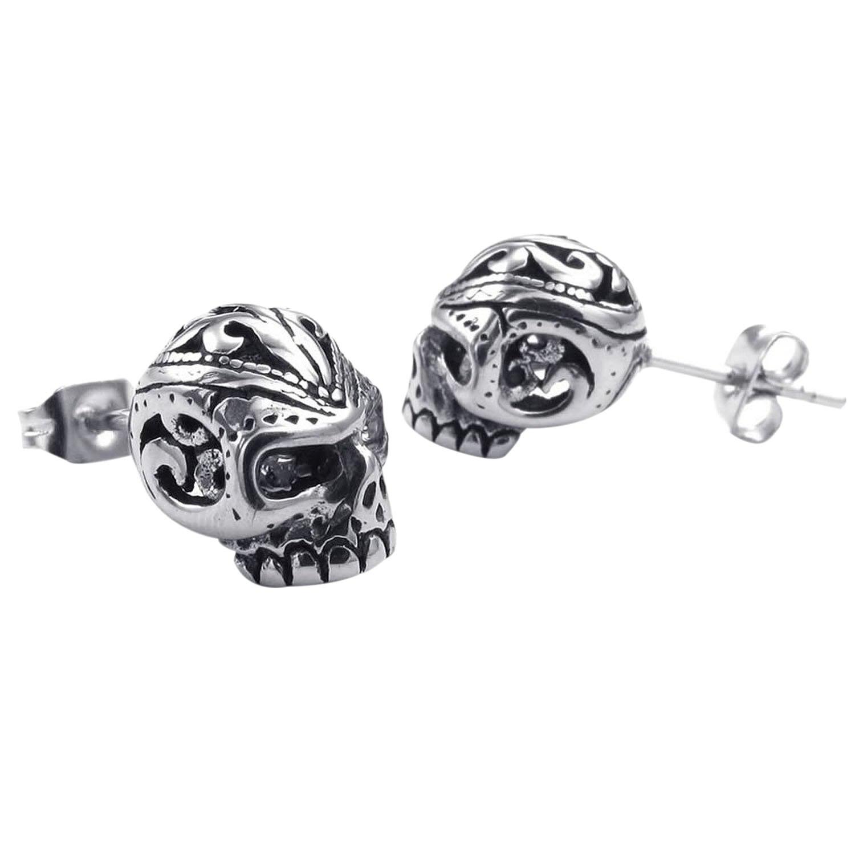 Velvet Bag Jewelry Mens Earrings, Gothic Skull Skull Stud, Zirconia Stainless Steel, black Silver
