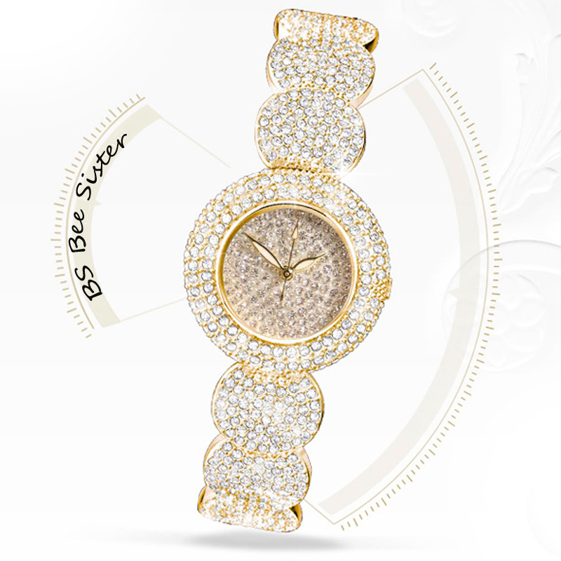 Kvinner Stilig BS Brand Full Diamond Armbånd Se Kvinner Luksus Østerriksk Krystaller Watch Lady 14K Gold Rhinestone Watch Bangle