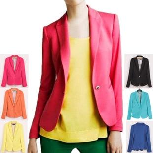 Fashion Spring Candy Color   Basic     Jackets   Women Plus Size Cardigan Office Lady One-button Coat Spring   Jacket   Roupas Femininas New