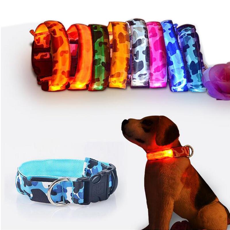 LED Camouflage Dog Collar Luminous Night Safety Light-up Flashing Glowing Dog Collar In The Dark Mascotas Pet Puppy Dog Collars(China (Mainland))