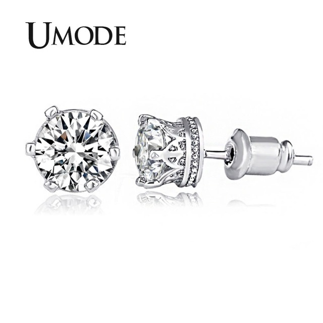 Umode Clic Crown Shaped Stud Earrings 0 75ct Top Grade Cz Brincos White Gold Color